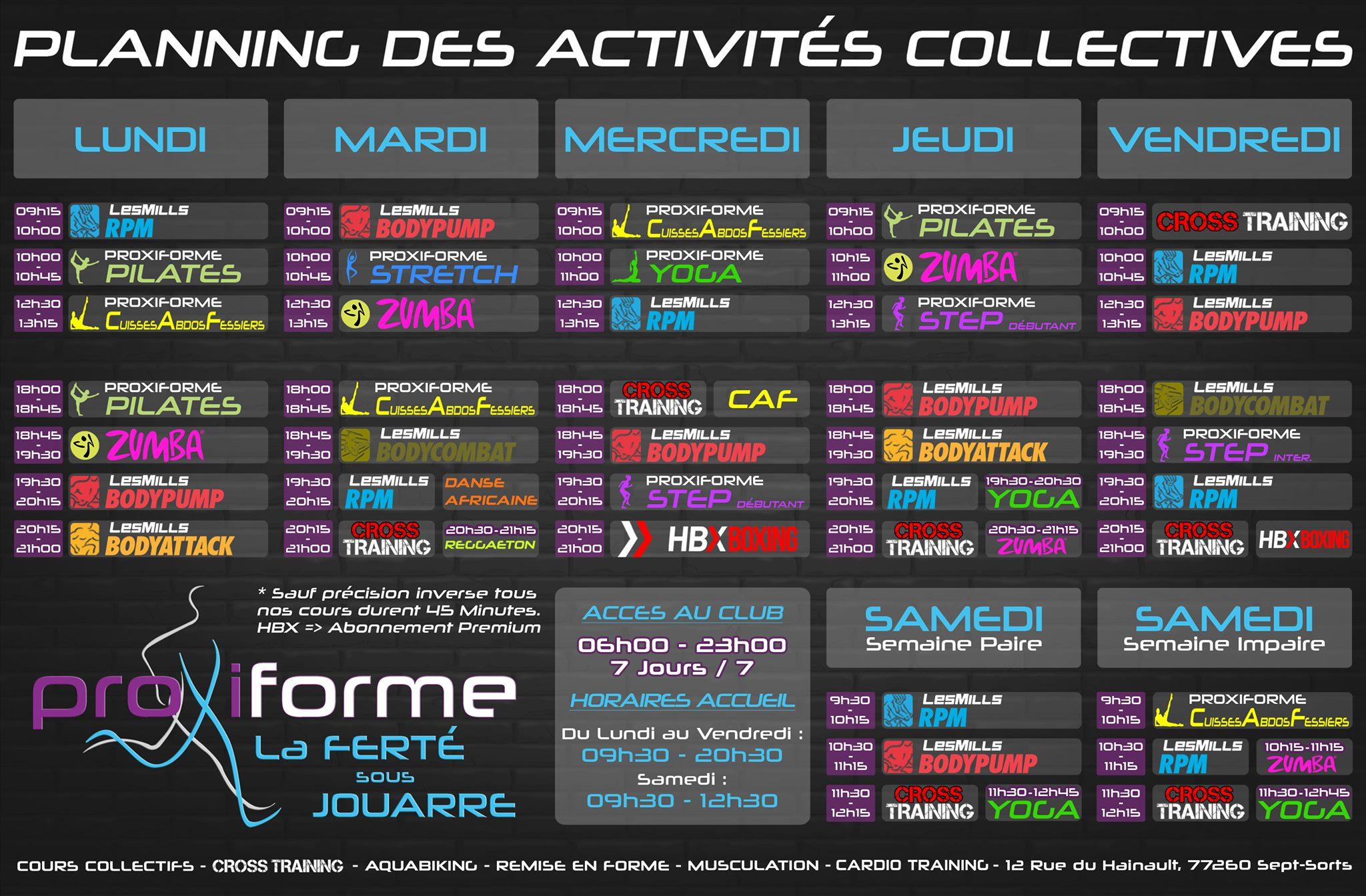 Planning des activités collectives Proxiforme La Ferté-sous-Jouarre